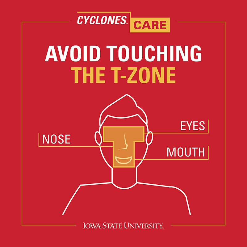 Avoid touching the T-Zone (eyes, nose, mouth)