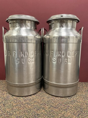 Two five-gallon milk cans
