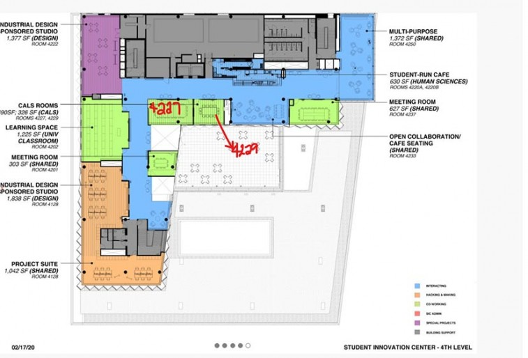 Fourth floor layout map of the Student Innovation Center