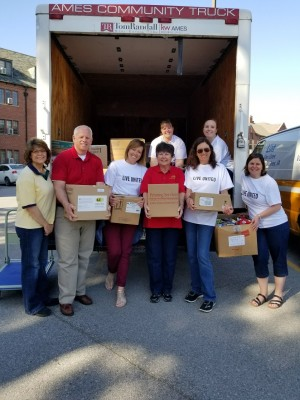 Iowa State University Department of Residence Employees Helping with the Food Drive