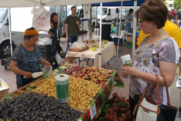 Vendors and customers at a farmers market