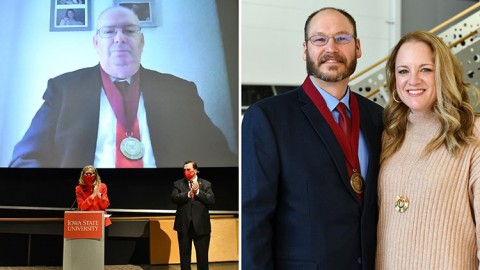Combined image, showing Professor Emeritus of Animal Science Joe Cordray on one side, and Terry Houser and his wife on the other