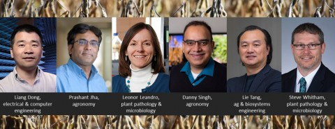 banner graphic with headshots of six researchers, their names and departments