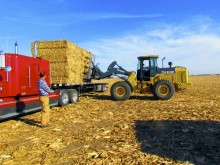 Corn stover bales are loaded on a truck.