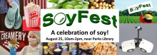 Soyfest banner shows different types of uses for soybeans