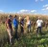 Professor Laura Jackson shows off long prairie roots at a prairie field day