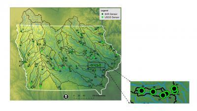 Map image of Iowa showing sensor locations