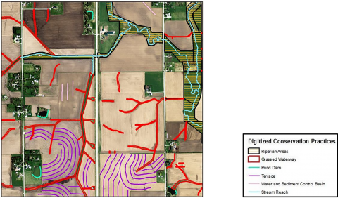 Conservation practices and riparian areas in Black Hawk County near Waterloo, Iowa with spring 2008 imagery.