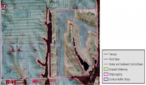 LiDAr image showing conservation practices