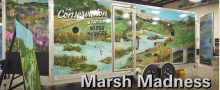 Image of side of conservation education trailer decorated to look like a wetland.
