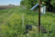 Saturated riparian buffer with control box and monitoring equipment